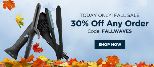Fall Equinox Sale: 30% Off ANY order Promo code: FALLWAVES | Hot tools on a blue background with fall leaves