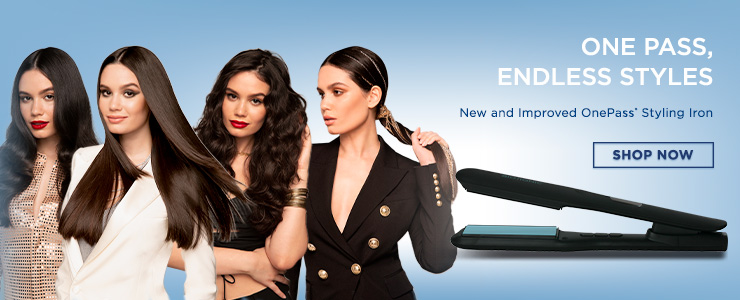 4 female models standing next to each other. ONE PASS, ENDLESS STYLES. New and Improved OnePass Styling Iron. SHOP NOW.